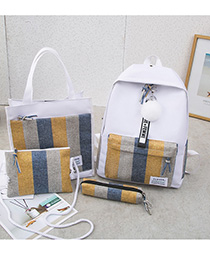 Fashion White One Canvas Striped Backpack