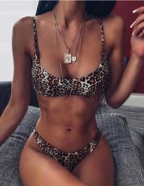 Fashion Leopard Leopard Print Split Swimsuit