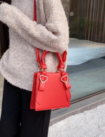 Fashion Red Heart Bow Bow Shoulder Bag