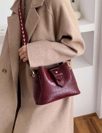 Fashion Red Wine Crocodile Crossbody Shoulder Bag
