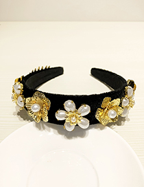 Fashion Black Resin Alloy Pearl Flower Headband