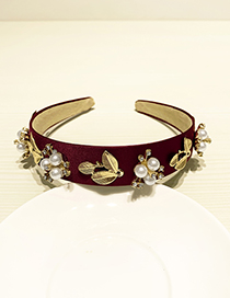 Fashion Red Wine Resin Alloy Pearl With Diamond Headband