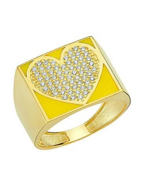Fashion Yellow Love Gold-plated Oil-loving Closed Ring