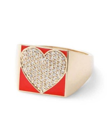 Fashion Red Love Gold-plated Oil-loving Closed Ring