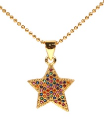 Fashion Gold Stainless Steel Small Bead Chain Five-pointed Star Full Diamond Necklace