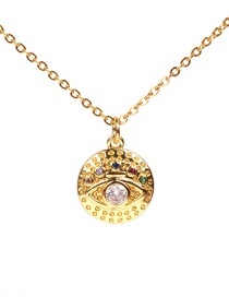 Fashion Gold Diamond Eye Necklace