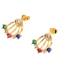 Fashion Gold Micro-set Color Zircon Rear-mounted Earrings