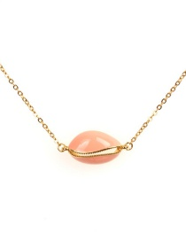 Fashion Pink Yellow Copper Plated Shell Color Drop Necklace