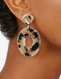 Fashion Leopard Acrylic Cotton Woven Edged Earrings