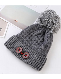 Fashion Gray Double Buckle Knitted Wool Cap