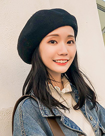 Fashion Black Wool Wool Beret