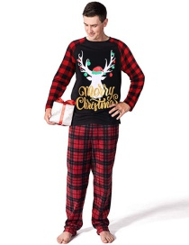 Fashion Men's Fawn Plaid Print Christmas Home Service Suit