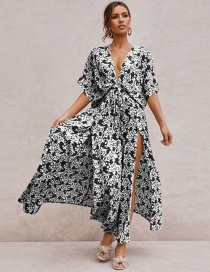 Fashion Black Deep V Floral Dress