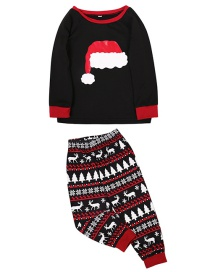 Fashion Child Black Christmas Hat Printing Home Service Suit
