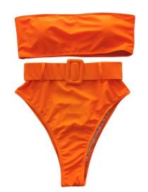 Fashion Orange Japanese Word Buckle Split Swimsuit