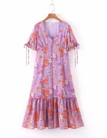 Fashion Pink Purple Row Of Buckled Floral V-neck Dresses
