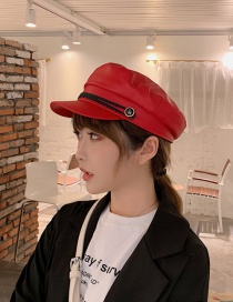 Fashion Red Woven Twist Button Beret