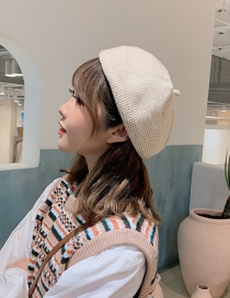 Fashion Beige Knitted Wool Beret