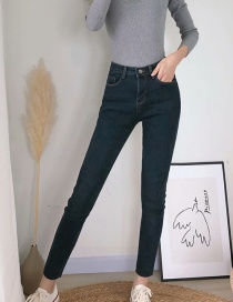 Fashion Blue Washed Velvet Jeans