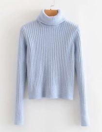 Fashion Blue Stand-up Knitted Sweater