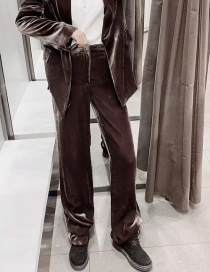 Fashion Grey Coffee Color Velvet Straight Pants