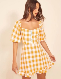 Fashion Yellow Plaid Chest Button Hem Funeral Dress