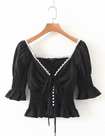 Fashion Black Lace Trim V-neck Shirt