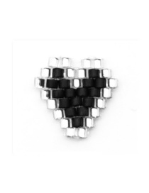 Fashion Black Heart Shape Geometric Rice Beads Weaving Accessories