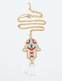 Fashion White Rice Beads Woven Palm Eyes Tassel Necklace