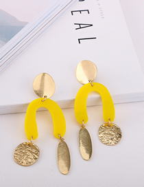 Fashion Yellow U-type Acetate Earrings
