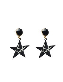 Fashion Black Pentagram Letter Earrings