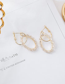 Fashion Gold 925 Silver Needle Geometric Crystal Stereo Oval Earrings