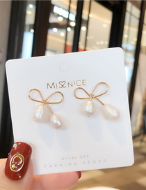 Fashion Gold 925 Silver Needle Bow Cherry Irregular Pearl Earrings