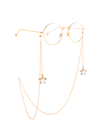 Gold Non-slip Metal Five-star Pearl Rhinestone Glasses Chain