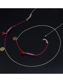 Rose Red Glass Flower Beads Glasses Chain