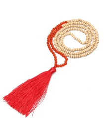 Fashion Red Natural Stone Beaded Beads Tassel Necklace 6mm