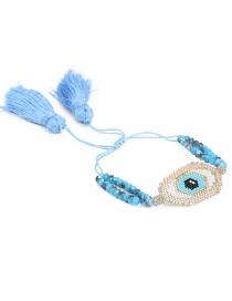 Blue Rice Bead Braided Eye Crystal Tassel Bracelet