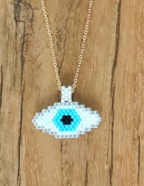 Silver Stainless Steel Beaded Woven Eye Necklace