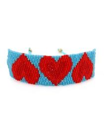 Blue Beizhu Weaving Love Crystal Tassel Bracelet
