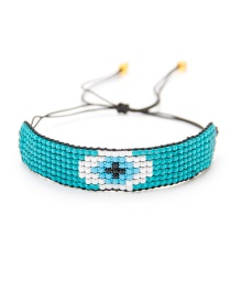 Blue Rice Beads Woven Eye Bracelet