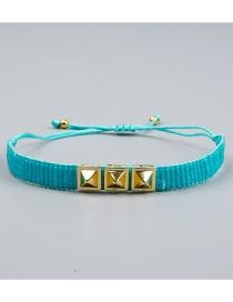 Blue Electroplated Rivet Beaded Woven Bracelet