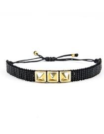 Black Electroplated Rivet Beaded Woven Bracelet