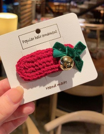 A Red Wool Hairpin Bow Hair Clip  Alloy