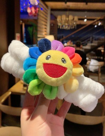 White Sun Flower Plush Cartoon Hair Band  Cloth