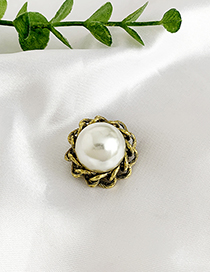 Fashion Bronze Alloy Chain Pearl Brooch