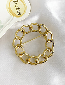 Fashion Gold Alloy Chain Circle Brooch
