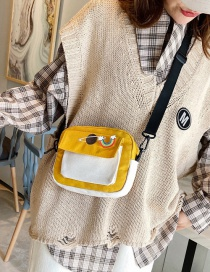 Fashion Yellow Canvas Contrast Stitching Print Crossbody Bag