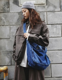 Fashion Navy Blue Denim Edging Shoulder Bag