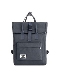 Fashion Gray Canvas Label Webbing Stitching Backpack