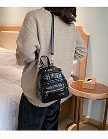 Fashion Black Embroidered Line Rhombic Backpack